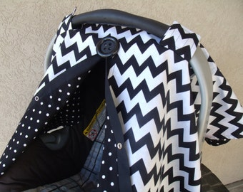 Car seat Cover  Black Chevron Dot