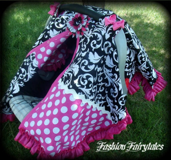 Damask Carseat Canopy for Girl with Flower Clip and Bows FREE SHIPPING Code