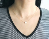 Square Coin White Pearl Gold Filled Necklace