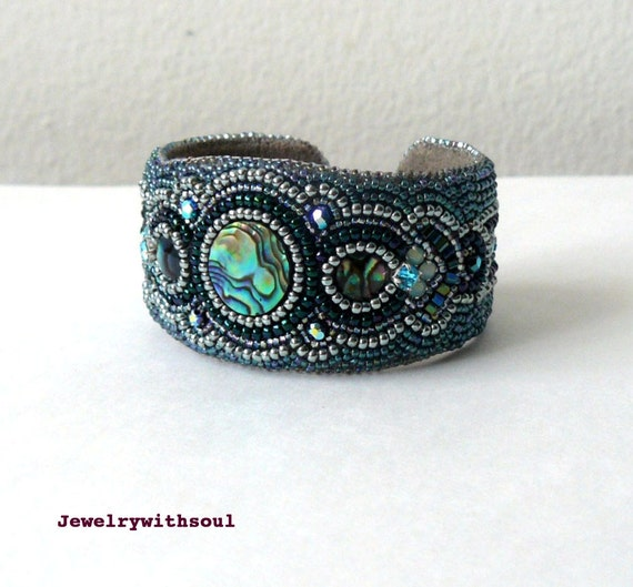 Bead embroidery cuff bracelet with paua by jewelrywithsoul