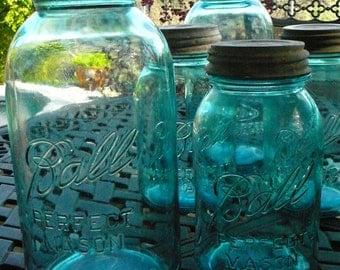 SALESet of 5/2Half Gallon and 3Quart BALL Mason Jars/WEDDING Decor/Beautiful Aqua Glass JARS