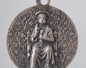 FOR PAULA Vintage Vatican Religious Medal Pendant with Saint Peter on 18 inch sterling silver rolo chain