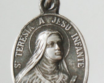 Saint Theresa Vintage Religious Medal Pendant with the Holy Face on 18 inch sterling silver rolo chain