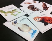 Set of 6 cards - Weird and Unusual Animals - Platypus, Tapir, Okapi, Echidna, Axolotl and more