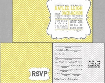 Chevron Invitation Suite | Gray and Yellow Wedding Invitations | Art Deco Wedding Invites | Boho Wedding Invite Set | Wedding On Budget