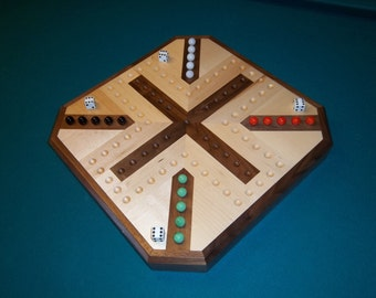 Inlaid Wooden Maple and Walnut Aggravation Board