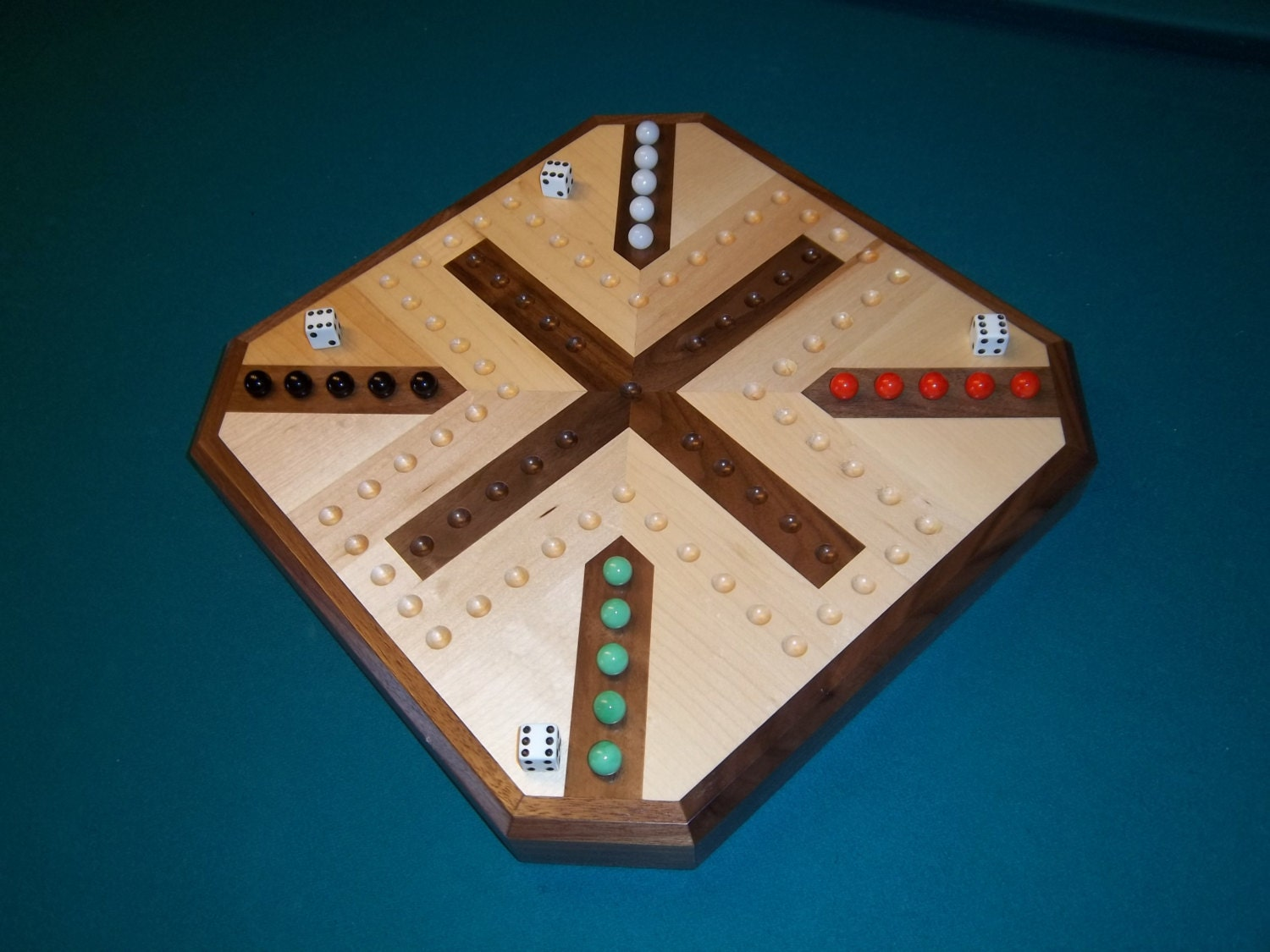 Wood Board Games ~ Inlaid wooden maple and walnut aggravation board