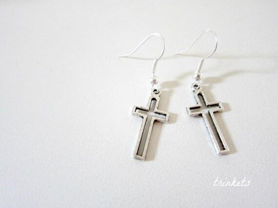 Cross Silhouette Silver Plated Earrings