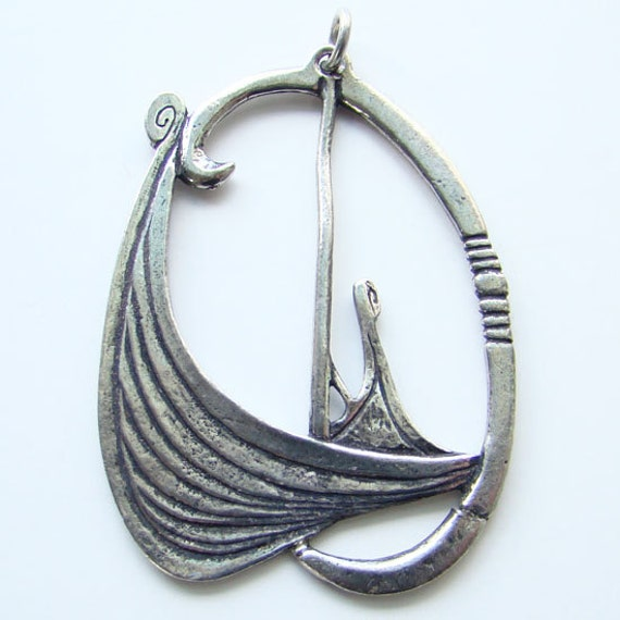 Viking Soapstone Vessel Ask Norway: Vintage Made In Norway Viking Ship Necklace Pendant By