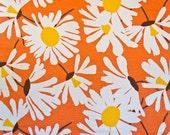 Terry cloth cotton fabric - Mod floral white daisies on orange