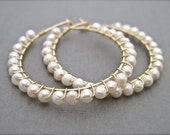 Freshwater Pearl Wire Wrapped Hoop Earrings, Ivory Pearl Earrings, Beaded Hoop Earrings