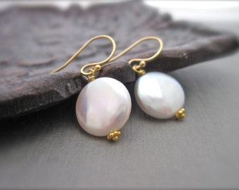 Coin Pearl Earrings in 14K Gold Fill, June Birthday Ivory Coin Pearl Gold Dangle Earrings