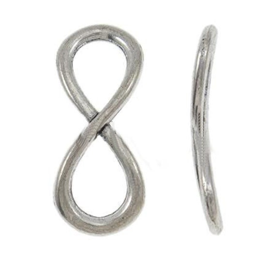 Connectors : 10 Antique Silver Infinity Connectors / Silver Ox Infinity Bracelet Connectors / Links ... Lead, Nickel & Cadmium Free 779.J4I