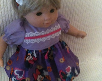 15 inch doll (modeled by Bitty Baby) Minnie Mouse dress, bloomers, headband and booties