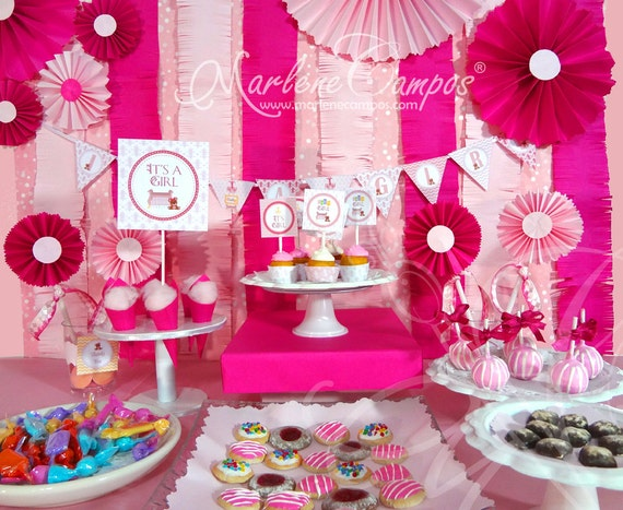 Art culos similares a baby shower para ni a cuarto de for Baby shower decoration ideas for twin girls