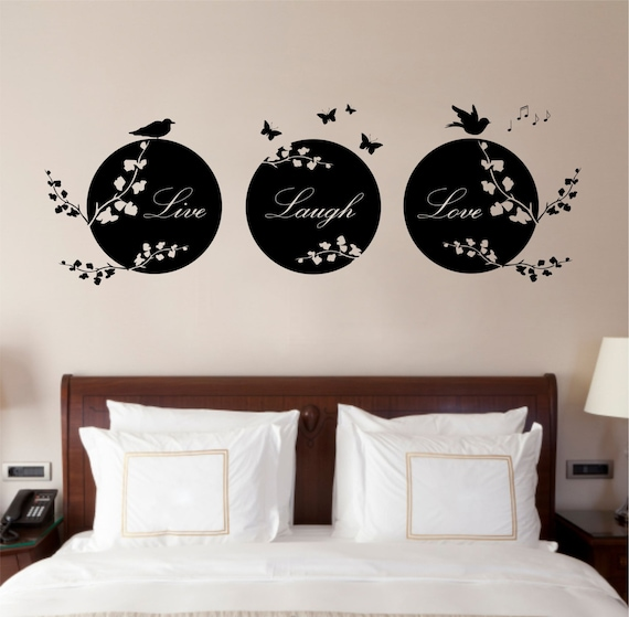 Love Quotes Vinyl Wall Art : Live laugh love quote vinyl wall art sticker decal by purrfic
