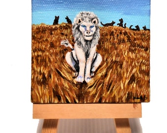Ghost Lion , miniature acrylic painting