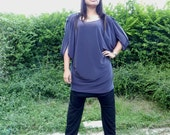 SUMMER SALE 40% Off Blouse Unique Styling Poncho Shoulder Pleated,Lycra Blend in purple grey Color,