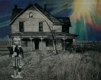 Colorful Collage Art, Farm Art, Paper Collage Print, Retro Art Print, GIrl Holding Cat, Surreal Art Print