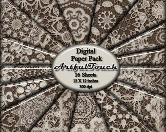 "Digital Paper, Lace Digital Scrapbooking Paper Pack, 16 Digital Background Paper (12"" X 12"" - 300 DPI) Vintage Lace (2) - INSTANT DOWNLOAD"