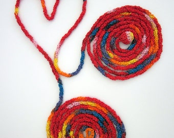 Crochet red, yellow, orange, pink, blue multicolor loop scarf in cotton