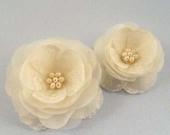 Lace Bridal Head Piece, Bridal Hair Flowers, Bridal Head Piece, Flower Wedding Head PIece, Ivory Wedding Hair Accessory, Freshwater Pearl