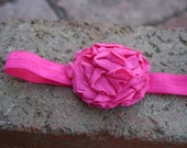 Many colors available. Jersey knit. Fushia flower headband. Flower.  Pink. Halo.  Poof.