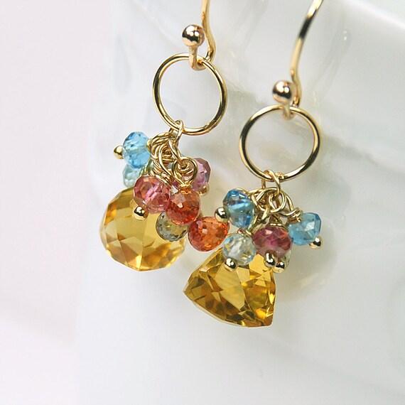 Citrine, Sapphire, Quartz, Blue Topaz Cluster Earrings by Agusha. Gemstone Dangle. Multi Gemstone Drop