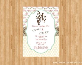 Ballerina Party Invitation- JPEG Digital File