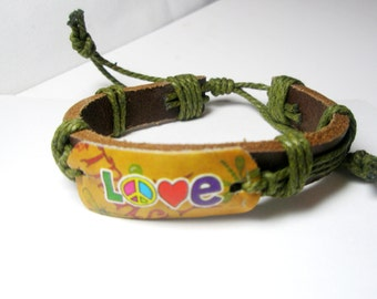 Leather Bracelet-  love