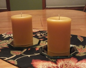 Pair of 3 inch by 4 inch pure beeswax pillar candles
