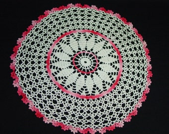 Lovely Vintage Hand Crocheted Doily Cream and Pink 10""