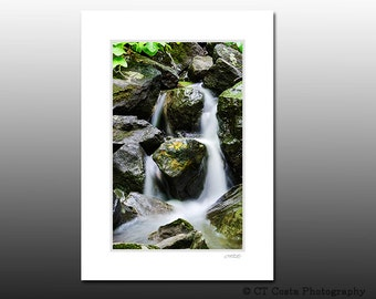 Waterfall Photo, Scenic Landscape print, Signed Matted Print, Ready for framing, Cubicle wall art