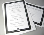 Wedding Invitation Elegant Black and White Traditional Script Classic Custom Invite Black Frame