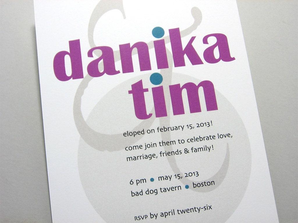 Elopement Wedding Invitations: Modern Elopement Invitation Quirky Wedding Invite Bold Purple