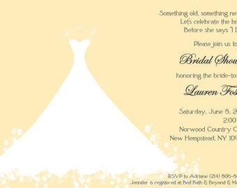 Bridal Shower Invitation Yellow Wedding Gown -  Bridal Luncheon, Bridal Tea Invitation, Printed