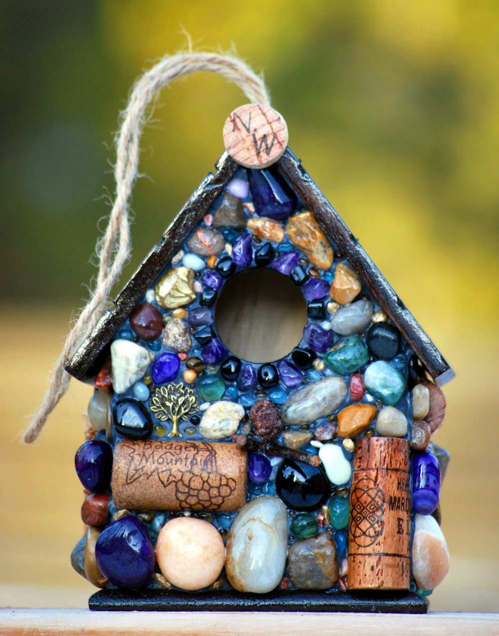 Wine Cork Birdhouse And Mosaic Stone Functional Garden Decor