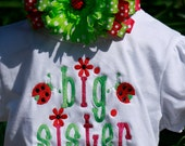 Big Sister Little Sister Lady Bug Embroidered Shirt with matching headband.