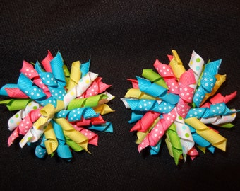 Spring sweetie korker pair, large 4 inch bows