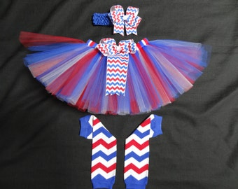 4th of July tutu set, chevron red, white, and blue custom made in your choice of size Newborn-4t