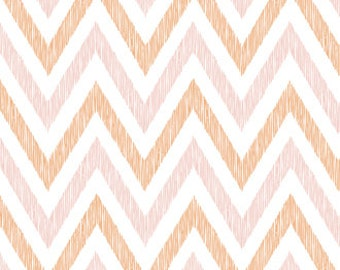 "ORGANIC, 1 Yard ""Chevron"" in Peachy, OOP Cloud9 Fabrics, Quilting Weight Cotton"