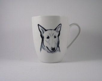 Bull Terrier handpainted art on  Mug