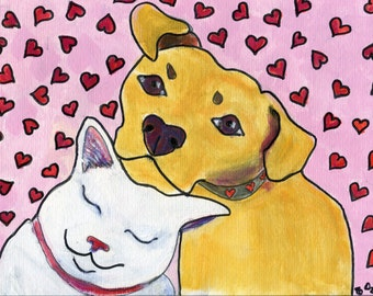 "Cat and dog art card, 5"" x 5"" blank greeting card"
