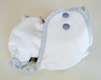 Fitted Diaper in Marshmallow - NB birth-14lbs - serged natural obv