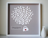 Personalized Wedding Guest Book, Unique Framed Wedding Guestbook - 3D Balloons car silhouette - SMALL - for 155 guests