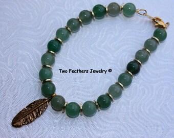 Green Aventurine Bracelet - Gold Feather Bracelet - Beaded Bracelet - Green And Gold - Gift For Her - Boho - Semiprecious Gemstone Bracelet