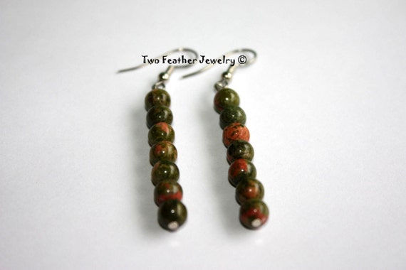 Unakite Earrings - Beaded Earrings - Stone Earrings - Natural Stone - Gift For Her - Gift Under 20 - Dangle Earrings