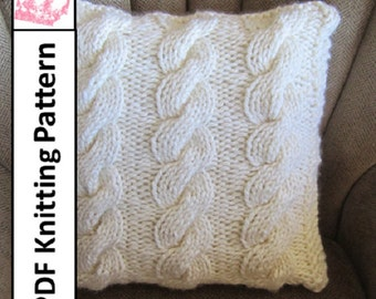 """PDF KNITTING PATTERN, Cable knit pillow cover, cable knitting pattern, 18""""x18"""", Super Chunky Triple Rope Cable  pillow cover"""