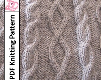 PDF KNITTING PATTERN, Cable knit blanket pattern,Diamonds and cable throw/afghan/blanket