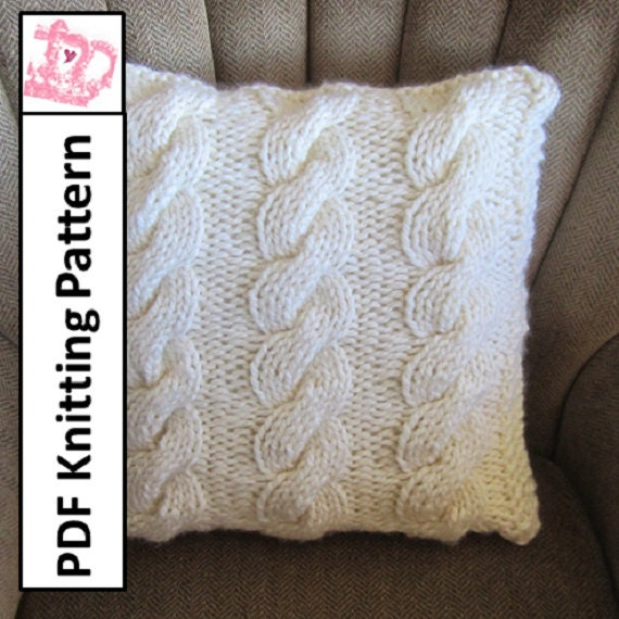 Cable Knit Pillow Pattern : PDF KNITTING PATTERN Cable knit pillow cover cable knitting